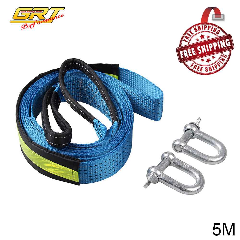 High Strength Nylon 5M 8Tons Tow Cable Tow Strap Car Towing Rope With Hooks For Heavy Duty Car Emergency With Gloves OT157-5