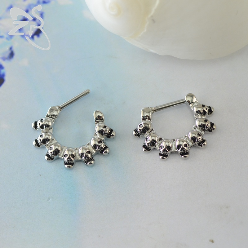 Us 2 15 20 Off Skull Nose Ring Septum Piercing Jewelry Hoop Nose Rings Septum Piercing Clicker Septum Ring Real Body Piercing Helix Septo In Body