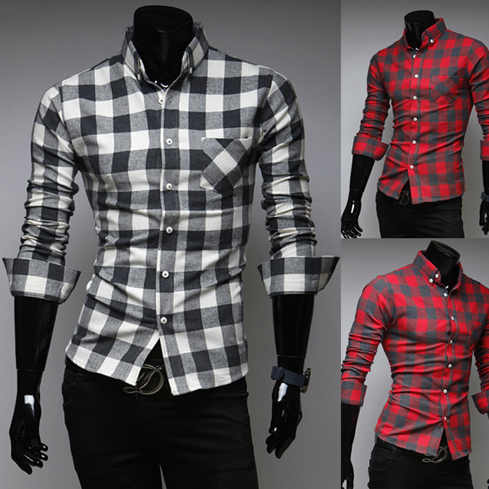 Men/'s Fashion Classic Plaid Shirt Long Sleeve Casual Shirt Slim Fit Stylish Tops