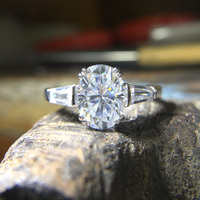 Gorgeous 14K 585 White Gold 3 Carat Ct DF Color Lab Grown Oval Moissanite Diamond Ring