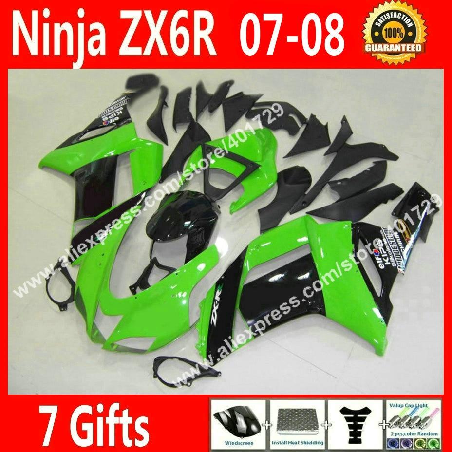 Brand new Fairings for Kawasaki ZX6R 2007 2008 Ninja 636 fairing kits 07 08 new light green black 7 gift JD38