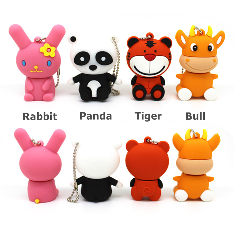 Cartoon Pink Rabbit Tiger Usb Flash Drive Disk Memory Stick Panda Pendrive 4GB 8GB 16GB 32GB Pen Drive Cute Bull Animal