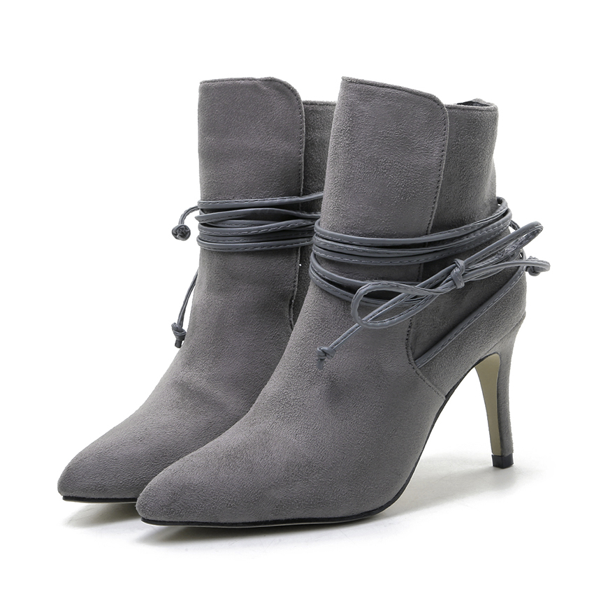 Winter Boots 2016 Womens Lace Up Pointed Toe Suede Boots Sexy High Heels Ankle Boots Autumn Shoes Woman Fur inside Zapatos Mujer egonery quality pointed toe ankle thick high heels womens boots spring autumn suede nubuck zipper ladies shoes plus size