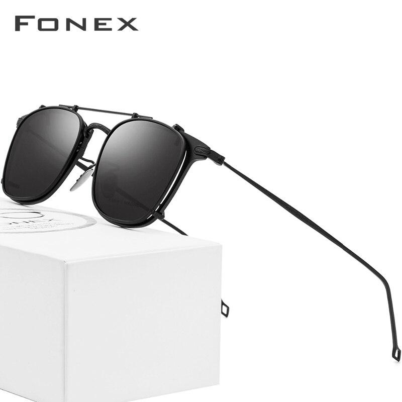 FONEX Pure Titanium Glasses Frame Men Clip on Polarized Sunglasses Prescription Sun Glasses for Women Square