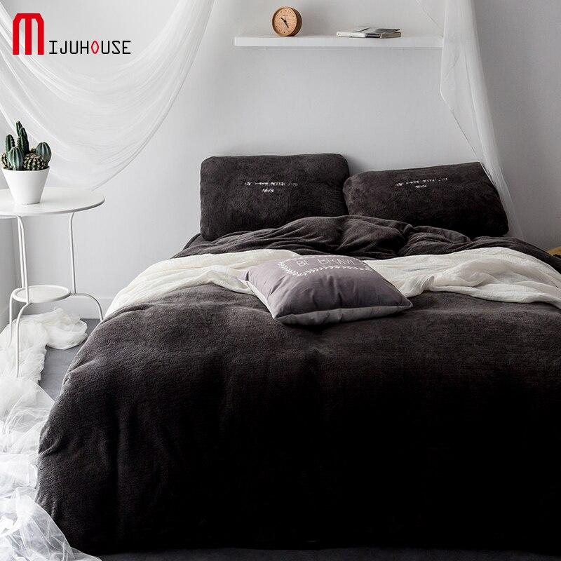 New Ultra Fine Polar Fleece Bedding Set Fitted Sheet Pillowcases 4Pcs Bed Linen Velvet Duvet