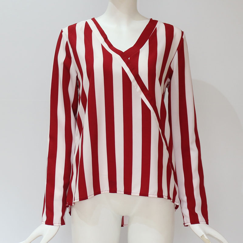 Women Striped Blouse Shirt Long Sleeve Blouse V-neck Shirts Casual Tops Blouse 53