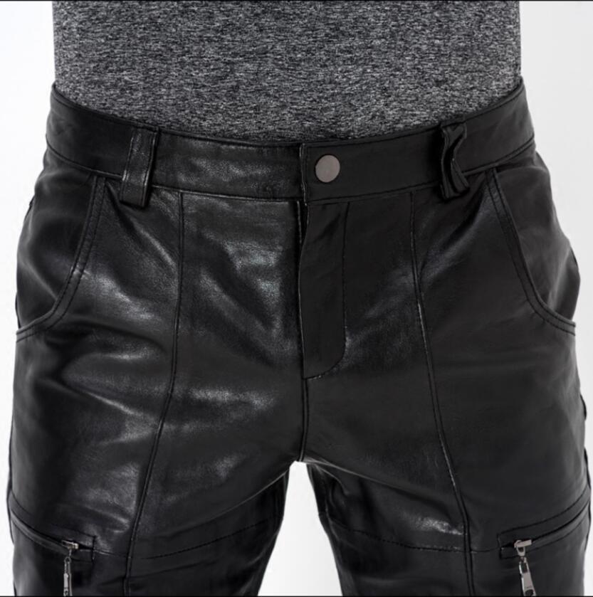 Motocicleta Pantalones E Moda Genuino Negro Oveja Casual Piel Para Hombre De Montar Otoño S Invierno Cuero Delgado 4xl 5Iq8vnxwB