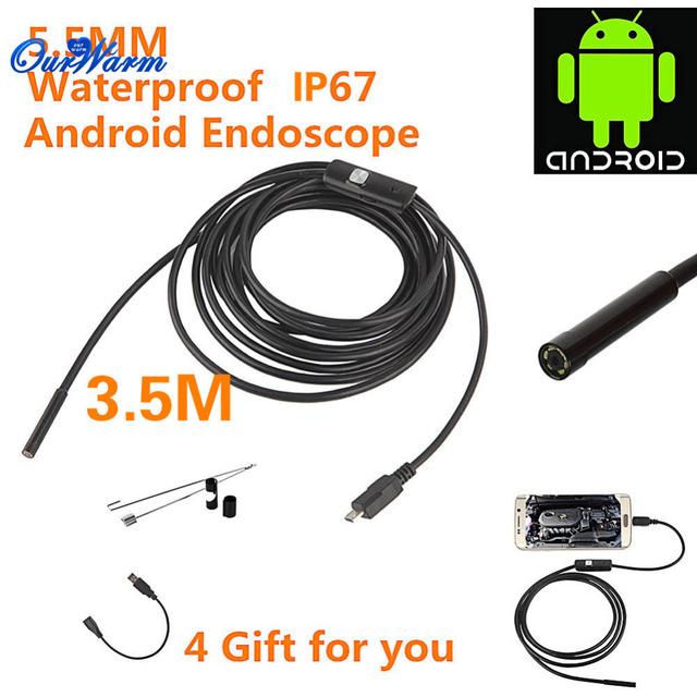 6 LED 5.5mm Lente Android Endoscópio USB Waterproof Inspeção Endoscópio Tubo Camera 3.5 M