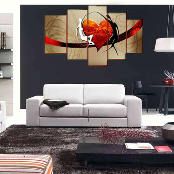 5 Panel Romantic 100% Hand-painted Huge Abstract Oil Painting Lovers Heart On The Canvas Pictures Wall Art For Bedroom No Framed