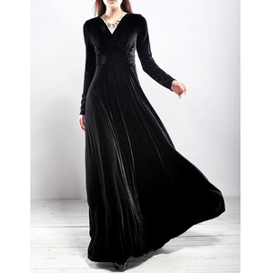 New 2019 Fall Winter Dress Women Elegant Casual Long Sleeve Ball Gown Dress Vintage Velvet Party Dresses Plus Size Dress Black(China)