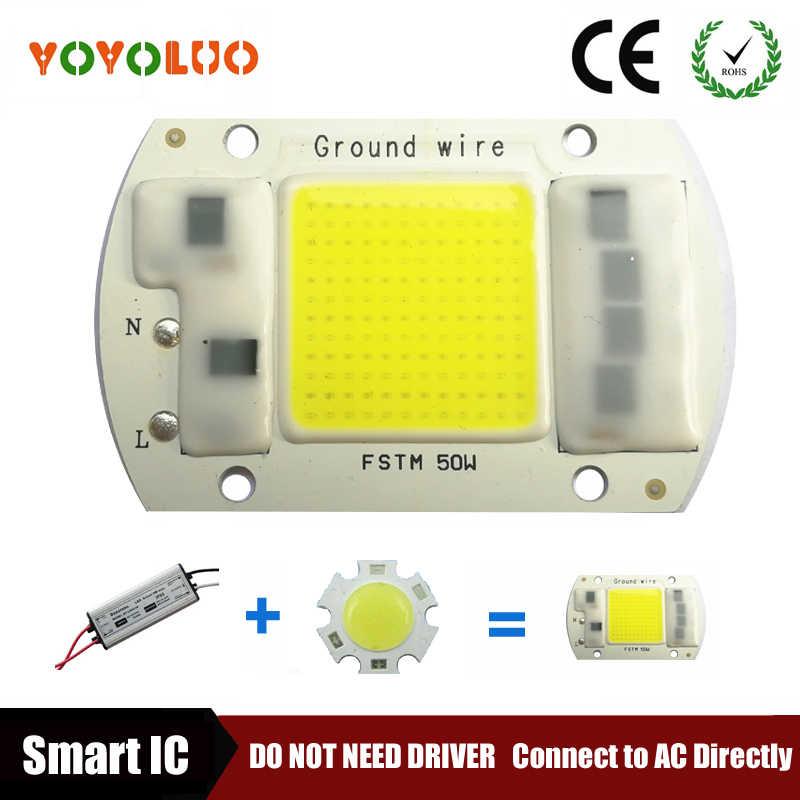 [Yoyoluo] светодиодный светильник чип, COB 5 Вт, 20 Вт, 30 Вт, 50 Вт, 220 V Вход Smart IC драйвера, пригодный для DIY холодный теплый белый светодиодный прожектор