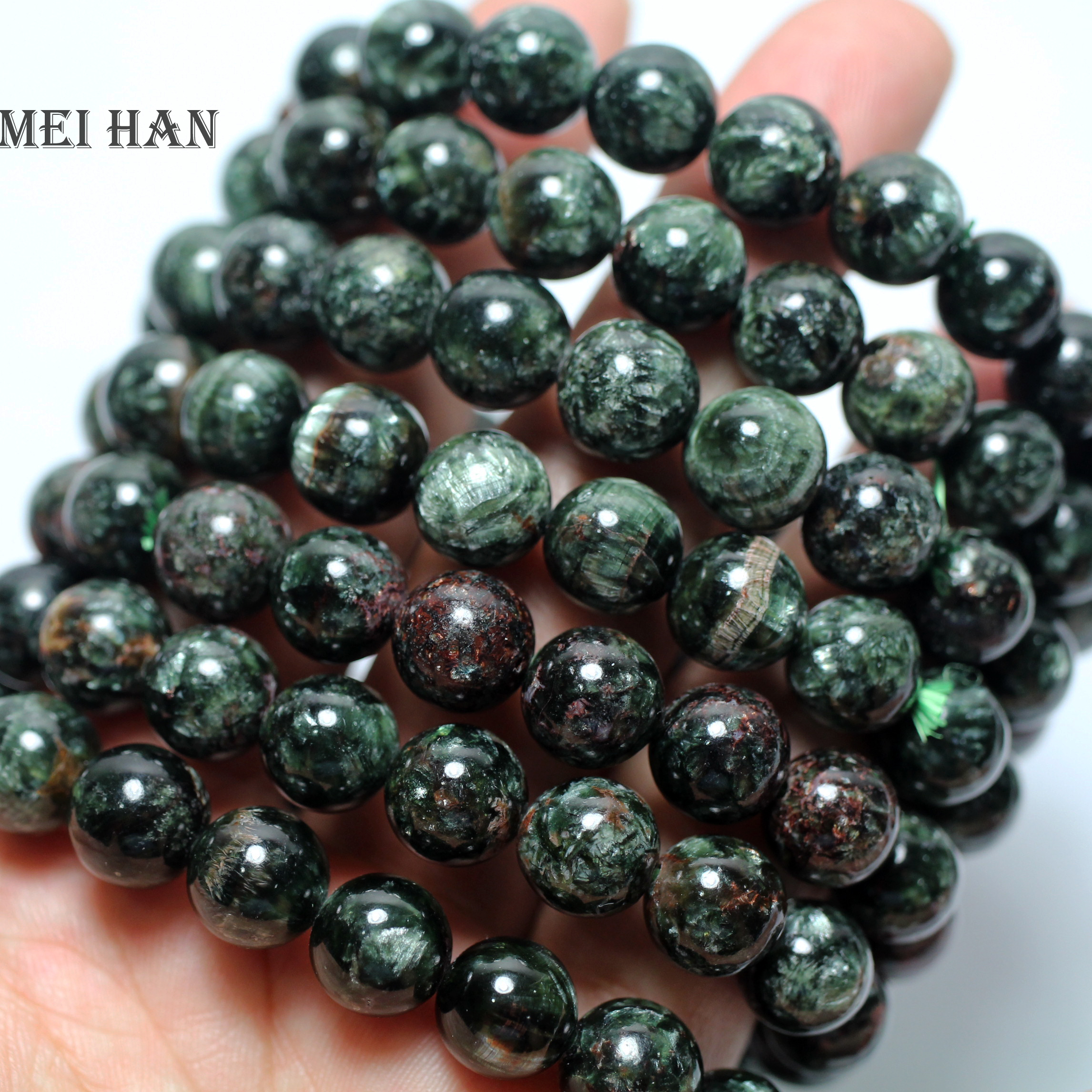 Free Shipping cheap 38beads set 52g 2 bracelet natural russian seraphinite 10 10 5mm smooth round