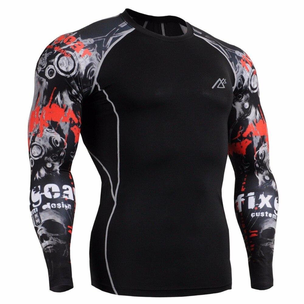 Life on track camisas y medias Set de entrenamiento de gimnasio ajustado de piel MMA entrenamiento de Fitness ropa de compresión para hombres conjunto traje de correr - 3