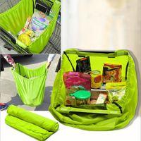 Green Foldable Reusable Grocery Storage Bags Waterproof Nylon Reusable Supermarket Shopping Bag Travel Portable Sundries Bag