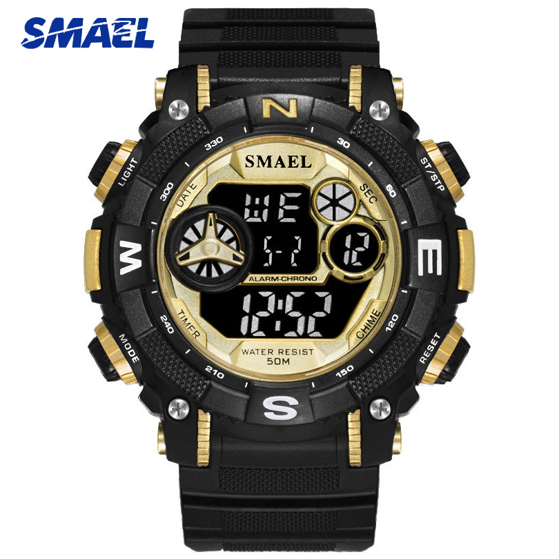 SMAEL Fashion Black Gold Men Sports Watch Military Date Quartz Watches Mens Luxury Brand Casual Wristwatch Male Reloj Hombre