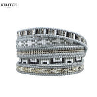 Kelitch Pure Handmade Weave Crystal Seed Beads Strand Bracelets Multilayers Adjustable Clasp Friendship Cuff Bracelet