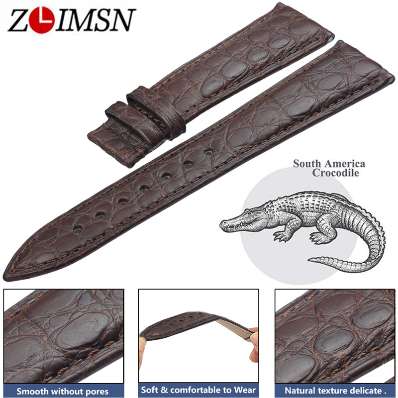 лучшая цена ZLIMSN Crocodile Leather Watch Band 22mm Luxury Circle Pattern Crocodile Strap for Men and Women 12-26mm Can be Customized Size