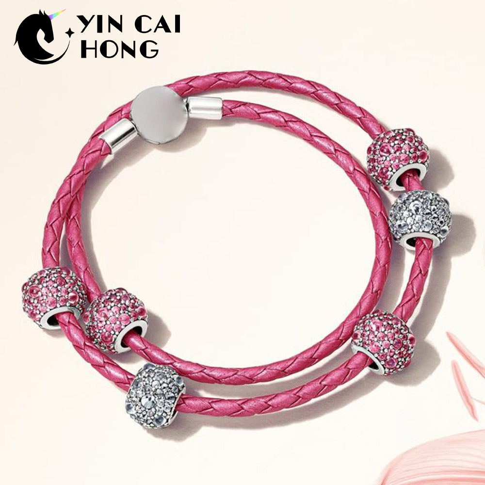YCH 100% 925 Sterling Silver 1:1 PINK SHIMMERING DROPLETS CHARM Beads MOMENTS DOUBLE WOVEN LEATHER BRACELET Gift SetYCH 100% 925 Sterling Silver 1:1 PINK SHIMMERING DROPLETS CHARM Beads MOMENTS DOUBLE WOVEN LEATHER BRACELET Gift Set
