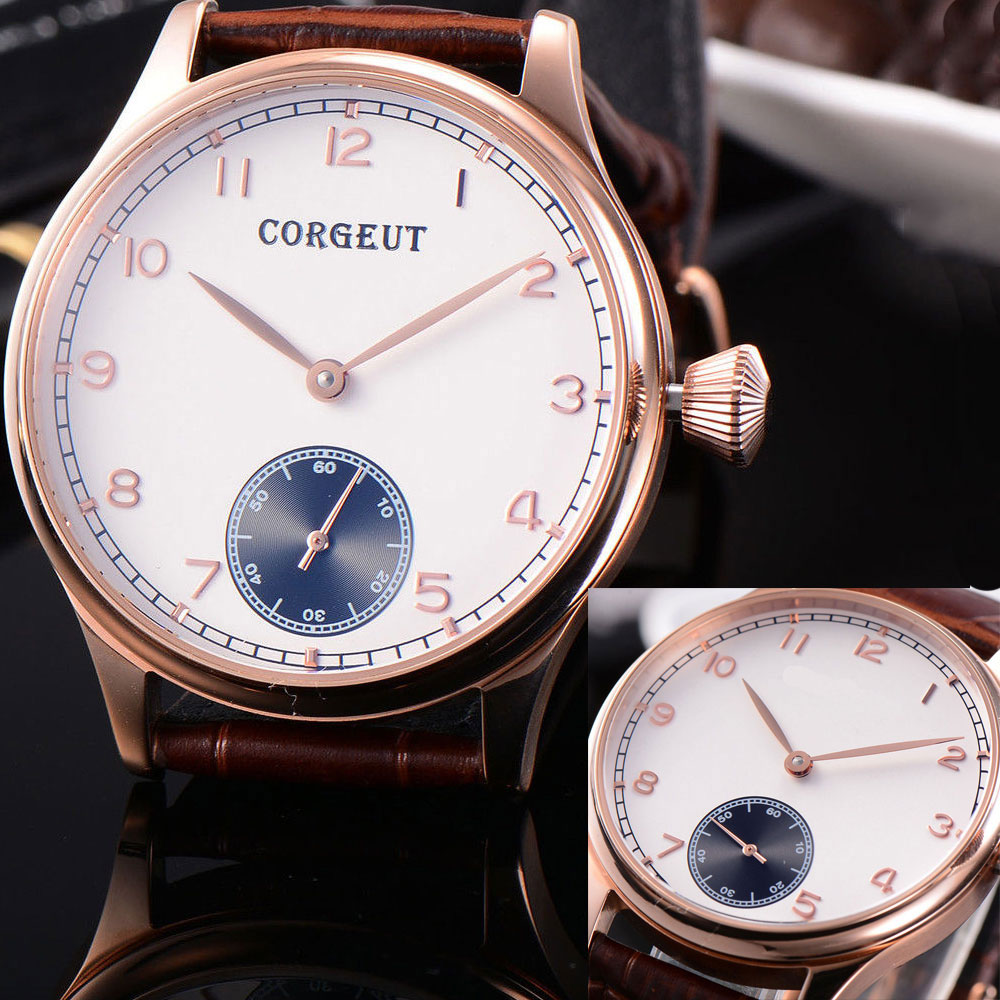 2018 New Arrival 44mm Corgeut Sterile Dial Luxury Brand Famous Rose Golden Case 6498 Hand Winding Mechanical men's Watch corgeut 44mm white dial rose golden case hand winding 6498 mens watch