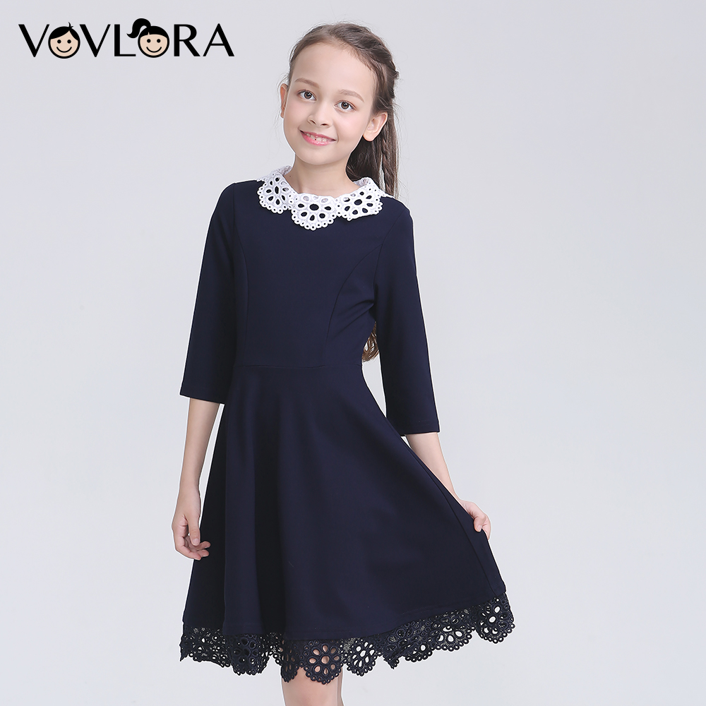 2018 Autumn School Uniform For Girls O Neck Half Sleeve Kids School Dress Patchwork Lace Children Clothes Solid Size 6 7 8 Years lace embroidered floral print stylish scoop neck half sleeve two piece dress for women