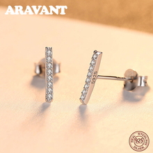 цена на 925 Sterling Silver Simple Design Shining Tiny Zircon Stud Earring For Women Geometry Earrings Brand Jewelry Carving 925