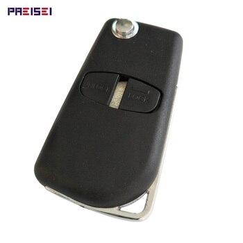 PREISEI 10pieces/lot 2 Buttons Right Groove Blade Remote Flip Modified Car Key Shells For Mitsubishi Outlander Grandis Pajero