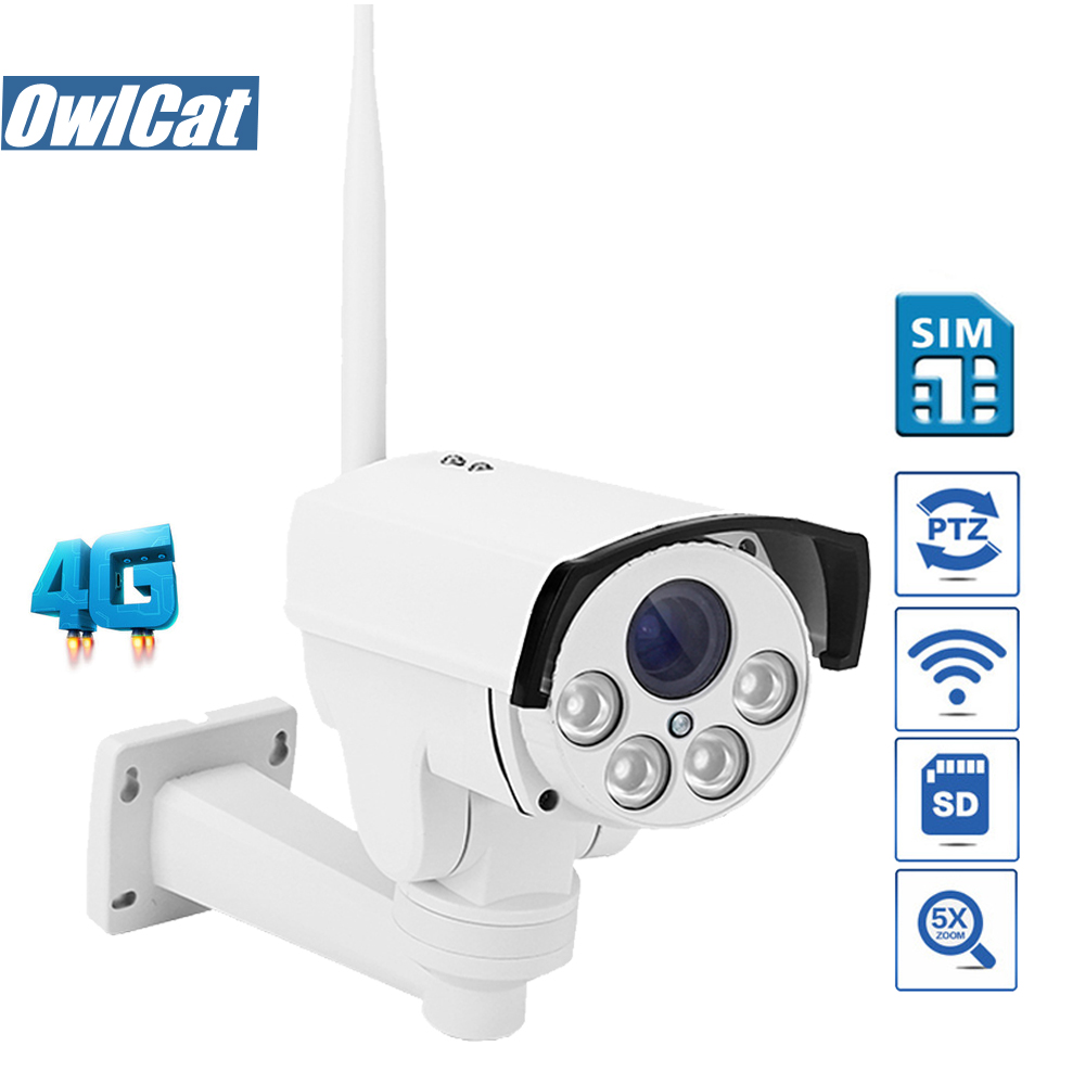 цены OwlCat HD 1080P Waterproof/Ourdoor PTZ Bullet WIFI IP Camera 4G SIM Card/SD Slot 5X Zoom Auto Focus Audio MIC Security camera