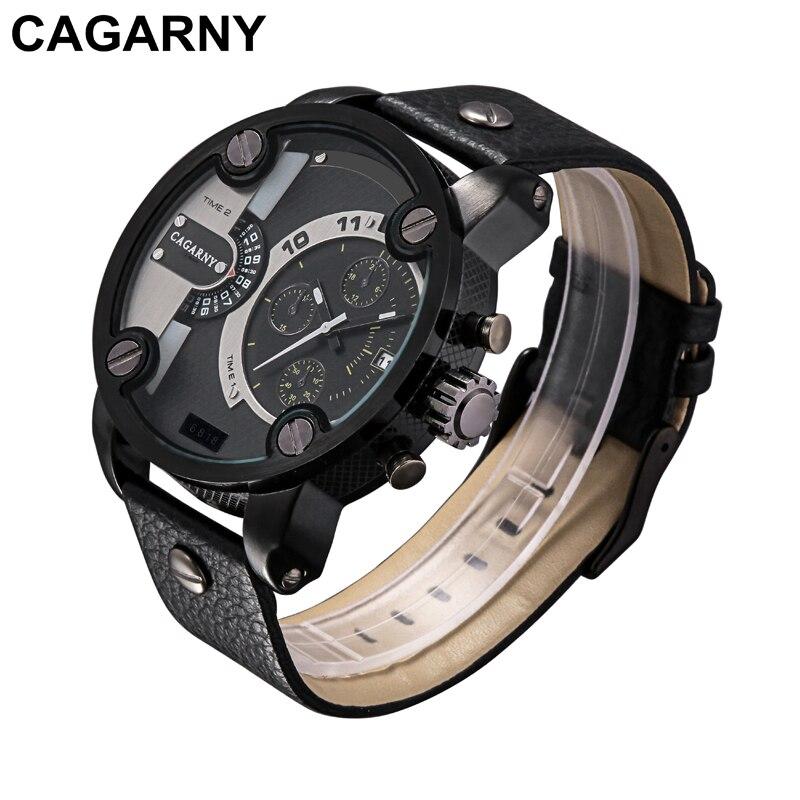 Prix pour Cagarny Montres Hommes Marque De Luxe Bracelet En Cuir Quartz Dual Time Zone Analogique Date Hommes Sport Russe Militaire Oversize Montre-Bracelet