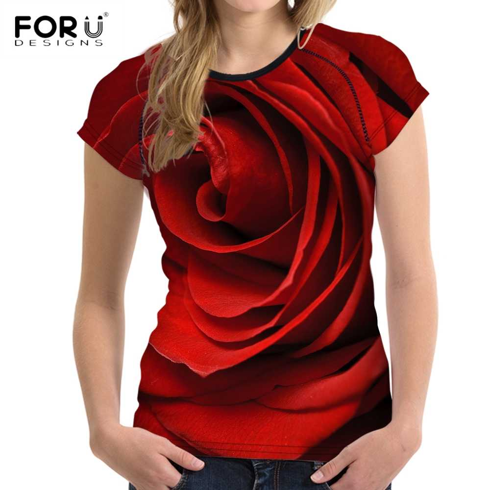 FORUDESIGNS 3D Flower Red Rose Print Women T shirt Fashion O-neck Short Sleeve Crop tops Clothes Brand Fitness Female T-shirts