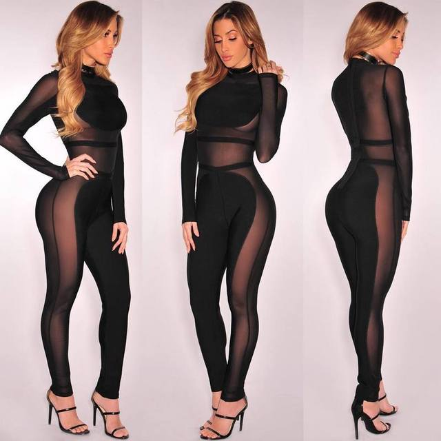 Women s Sexy Hollow Out Long Sleeve Mesh Knitted Black Bodycon Bandage  Jumpsuit d8770dc7166e