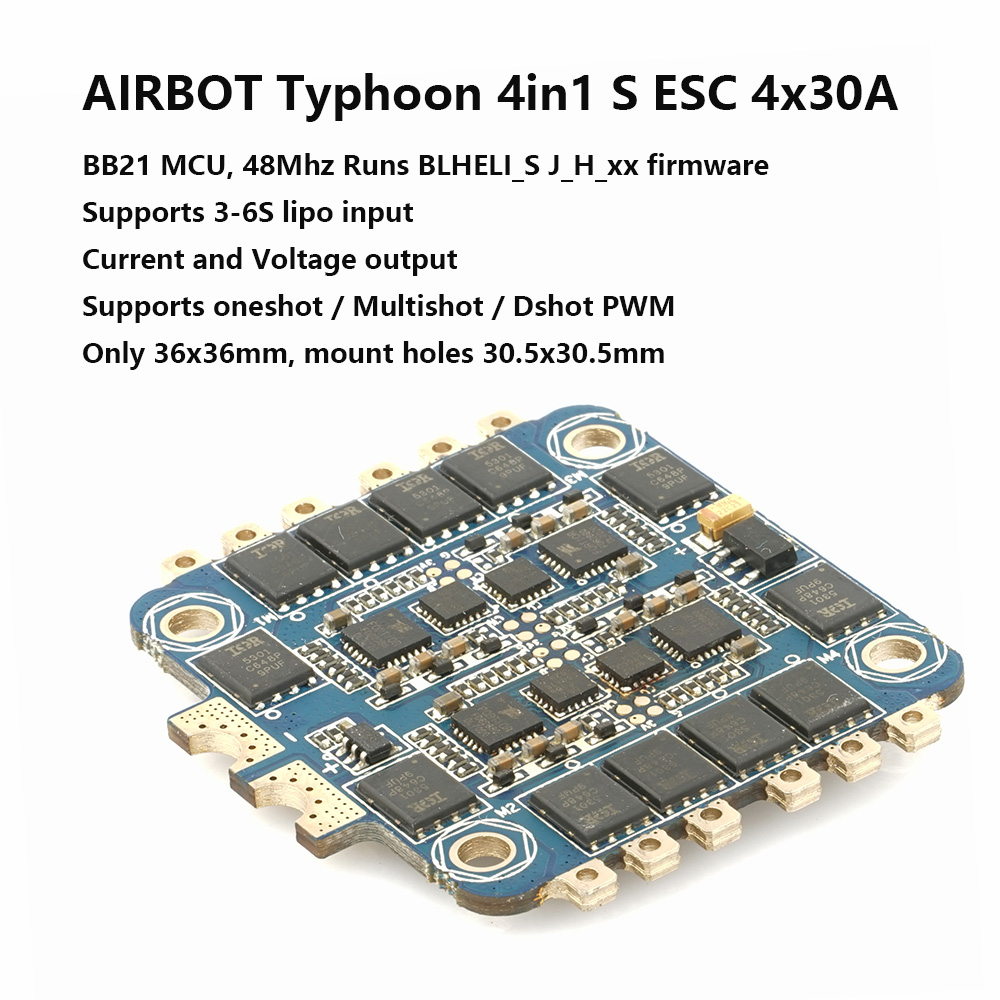 AIRBOT NEW Current and voltage Typhoon 4in1 S ESC 4x30A BLHELI_S fimrware Supports Oneshot / Multishot / Dshot for quadcopter norfin typhoon купить в минске