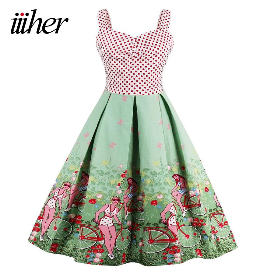Iiiher Sommer Vintage Kleid Frauen 16 s Patchwork Blumendruck