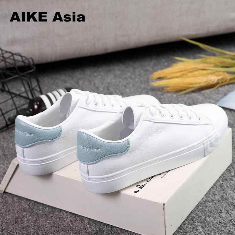 Kadın Ayakkabı 2019 Moda Nefes vulkanize ayakkabı Kadın Pu deri platform ayakkabılar Kadınlar Lace up rahat ayakkabılar Beyaz spor ayakkabı