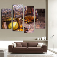 4 Panel Canvas Fruit Lemon Wine Glass Picture For Kitchen Living Room Wall Decor Canvas Prints