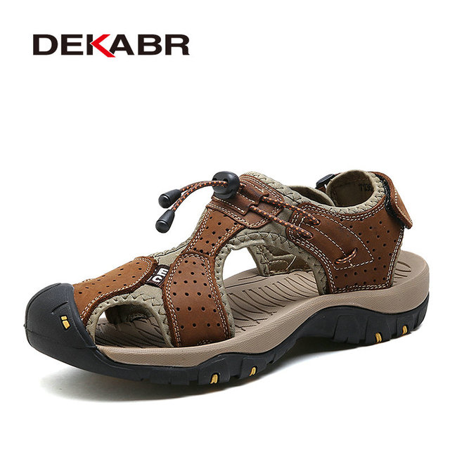 1a21c4a3e68 DEKABR High Quality Men Sandals Fashion Genuine Leather Casual Shoes  Classic Style Male Sandals Breathable Summer Shoes for Men
