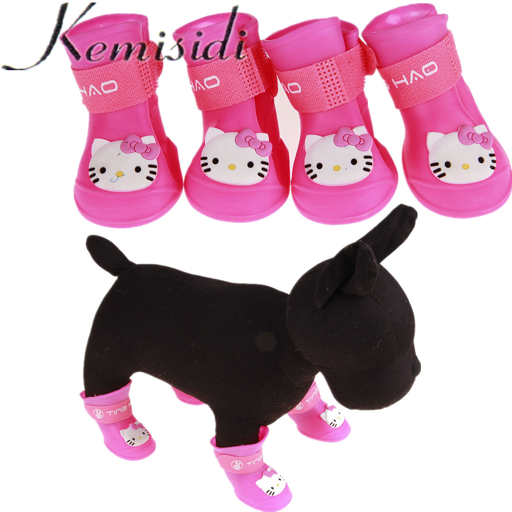 KEMISIDI Dog Rain Shoes 4Pcs / Lot Kitty Cat Pet Dog Strumpor Candy Colors 7 Color Dog Shoes Vattentät Pet Colorful For Yorkie Dogs