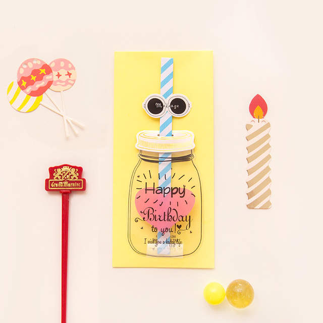 1 Set Han Edition Straw Birthday Card Envelope 3D Creative Greeting Message