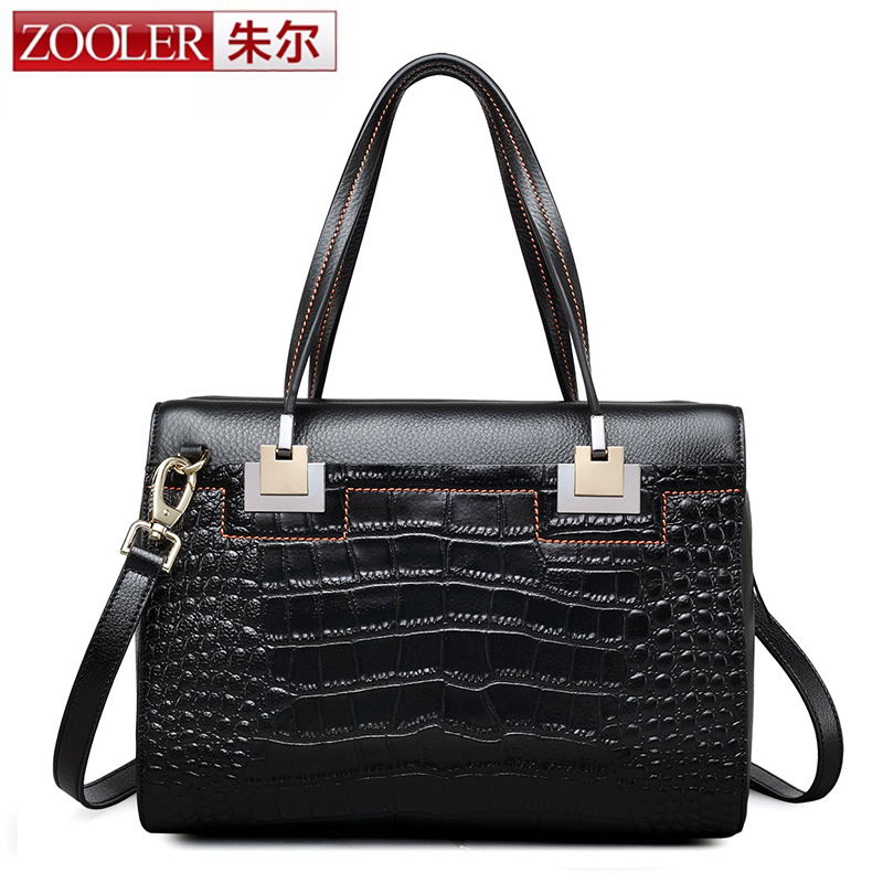 ZOOLER Women Genuine Leather Handbags Ladies Tote Bag Female Square Shoulder Bags Bolsas Femininas Black Boston Business Handbag luxury famous brand women female ladies casual bags leather hello kitty handbags shoulder tote bag bolsas femininas couro
