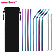 купить Reusable Metal Drinking Straws 304 Stainless Steel Sturdy Bent Straight Drinks Straw with Cleaning Brush Bar Party Accessory GG дешево