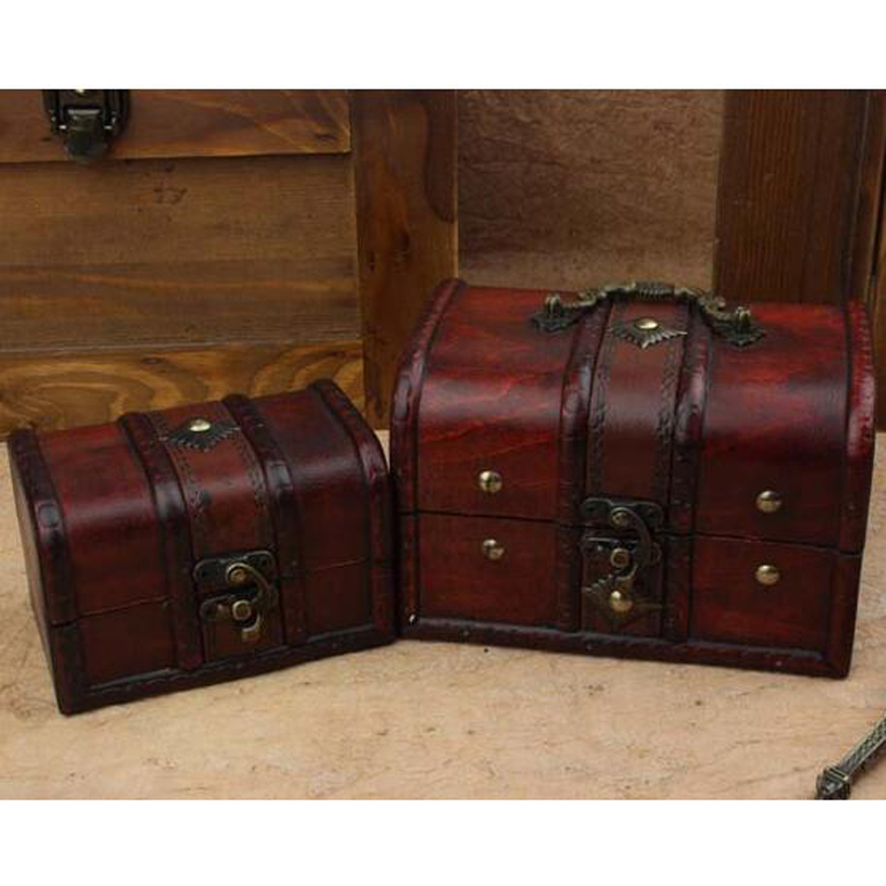 Wooden box storage box organizer cajas organizadoras Retro antique lockable ooden jewelry boite de rangement makeup caixa 2pcs