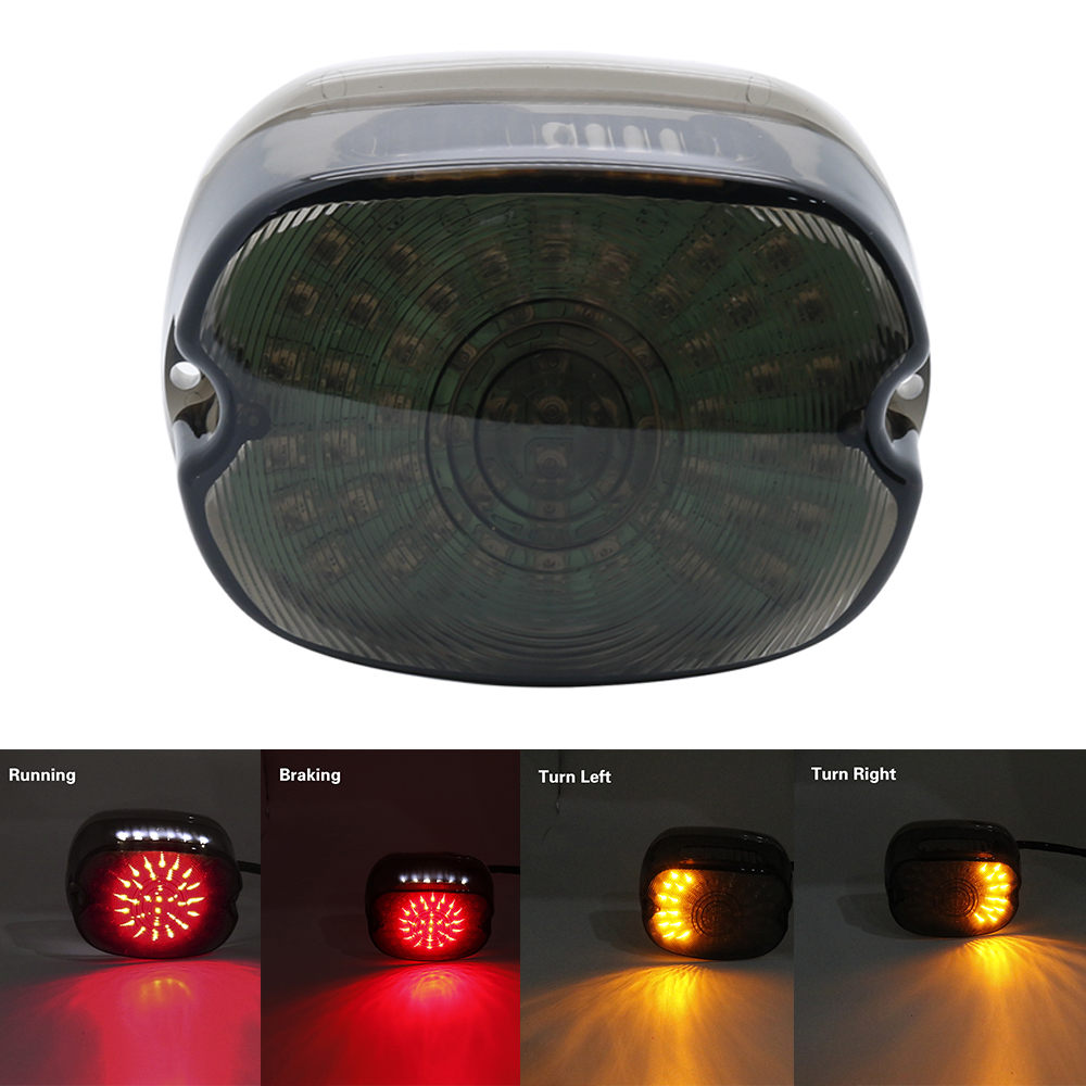 Smoke LED Tail Brake Stop Rear Turn Indicator Signal Light Lamp Taillight Lay Down For Harley Softail Dyna