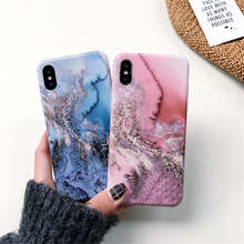Explosion Mobile Phone Case For Iphone 66S 6P78 8P X Xs Xr Xsmax Marble Pattern Cold Light Anti-Fall Half-Pack Soft Shell