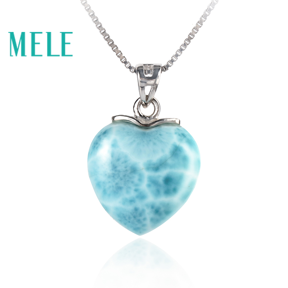 MELE Natural blue Larimar sterling 925 silver pendant for women and man 15mm heart shape Romantic