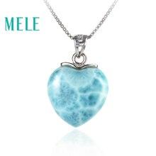 MELE Doğal mavi Larimar sterling 925 gümüş kolye kadınlar ve erkekler için, 15mm kalp şekli Romantik ve basit tarzı güzel takı
