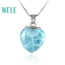 MELE สีฟ้าธรรมชาติ Larimar sterling 925 เงินจี้สำหรับสตรีและชาย 15 มิลลิเมตรรูปหัวใจโรแมนติกและเรียบง่ายเครื่องประดับ fine