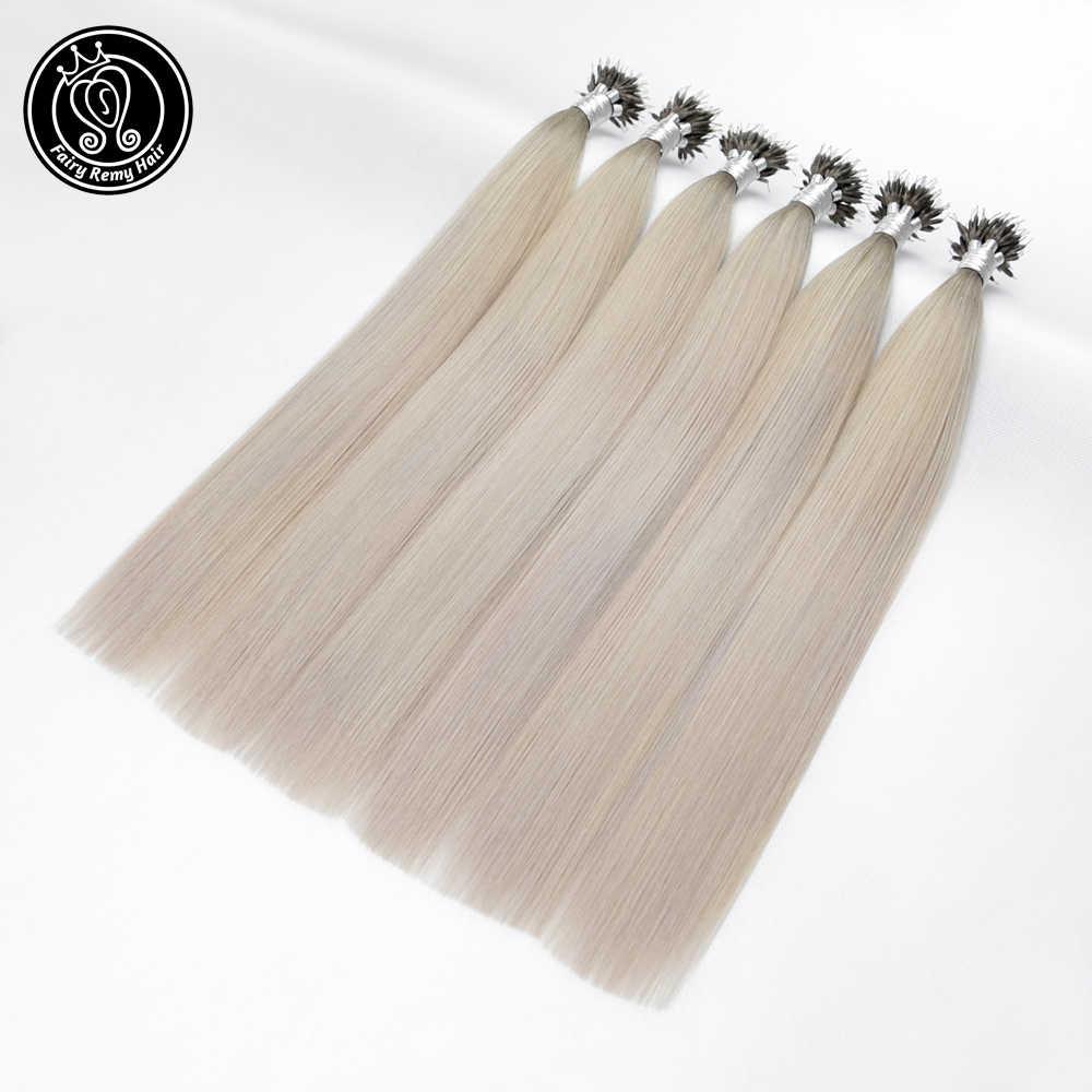 Fada remy cabelo pré ligado micro link extensões de cabelo humano gelo loira cor 16 Polegada 0.8 g/s micro contas real remy cabelo humano