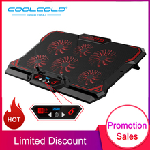 COOLCOLD 17inch Gaming Laptop Cooler Six Fan Led Screen 2 USB Port 2600RPM Cooling Pad Notebook Stand for