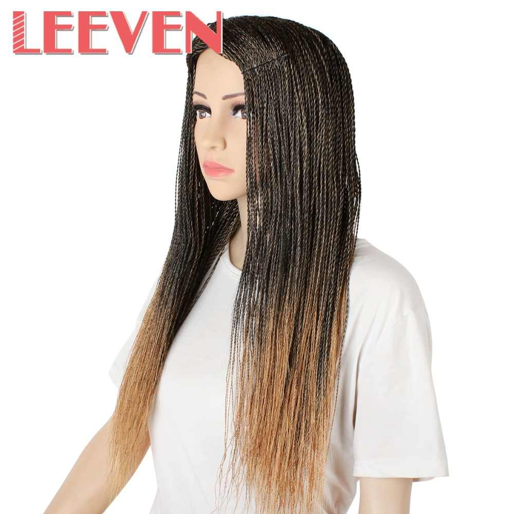 Leeven Synthetic Wigs Brown Ombre Black For Woman Senegalese 2x Twist Million Braids Wig High Temperature Fiber 22'' Adjustable