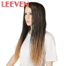 Leeven Synthetic Wigs Brown Ombre Black For Woman Senegalese 2x Twist Million Braids Wig High Temperature Fiber 22'' Adjustable(China)