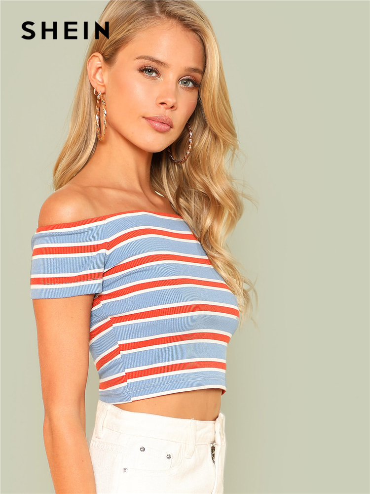 9fae214eaf SHEIN Rib Knit Striped Bardot Tee Women Off The Shoulder Short Sleeve Slim  Crop T shirt 2018 Summer Female Sexy Party Top Tee-in T-Shirts from Women's  ...